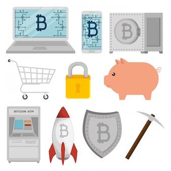 Satz von bitcoin währung mit schwein und schild