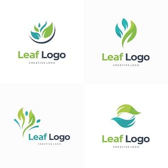 Satz von blattnatur-logo-designs landwirtschafts-logo-vorlagenvektor