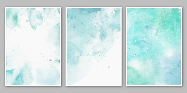 Satz von blauen türkisfarbenen aquarell abstrakten plakaten Premium Vektoren