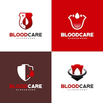 Satz von blood shield logo entwirft konzeptvektor, blood care logo entwirft vorlage, symbol, symbol