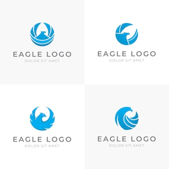 Satz von blue eagle logo design in runder form