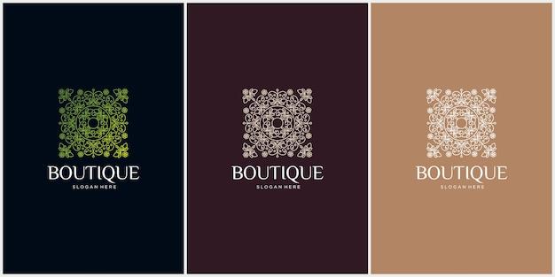 Satz von boutique blumenhaus logo natürliche blätter gebäude nach hause