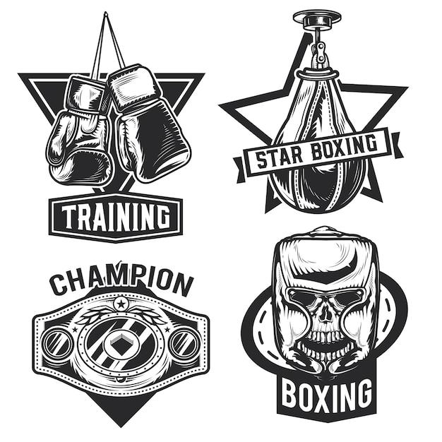 Satz von box-emblemen, etiketten, abzeichen, logos.