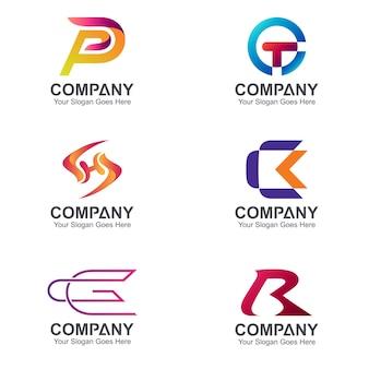 Satz von briefkombination logo-design