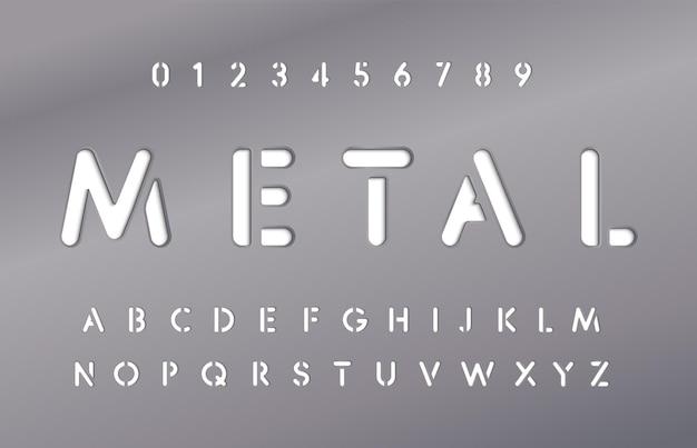 Satz von buchstaben und zahlen in metallplatten-metallic-material-stil der alphabet-stahlplatte mit schriftart