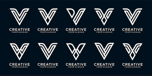 Satz von buchstaben v-logo-designschablone mit linie