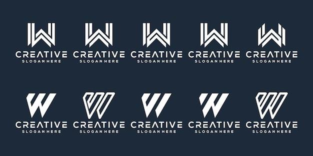 Satz von buchstaben w logo-design