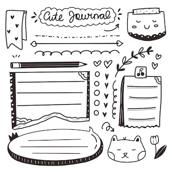 Satz von bullet-journal-notizen-zeichnungsset für notizbuch