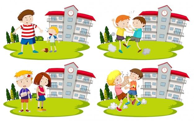 Satz von bullys und kindern