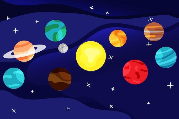 Satz von bunten planeten auf weltraumhintergrund vektor-illustration cartoon-stil