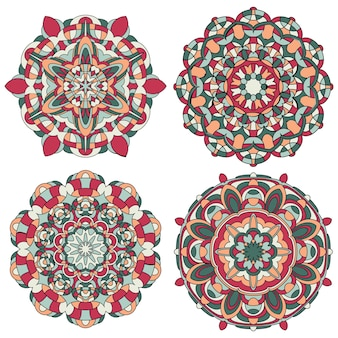Satz von bunten vektor-mandala. mandala-vektor für kunst, malbuch, zendoodle. kreis abstraktes objekt isoliert auf weißem hintergrund.