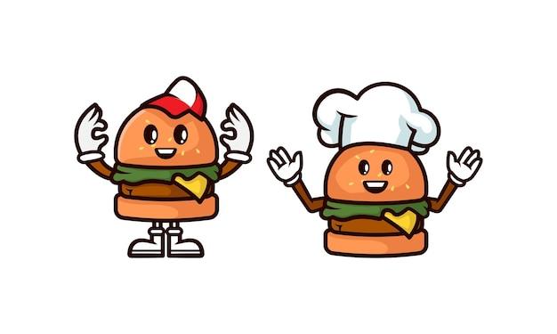 Satz von burger-maskottchen-logo-design-illustration