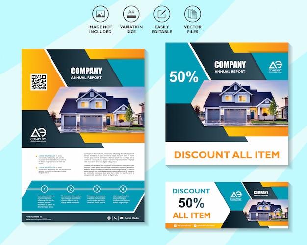 Satz von business design-vorlagen für die vernetzung mobiler lösungen für digitales marketing