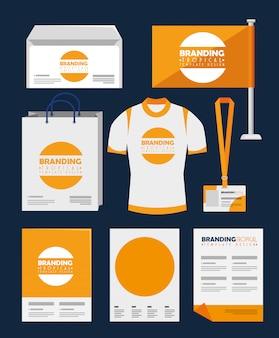 Satz von business-produkt und branding-modedesign