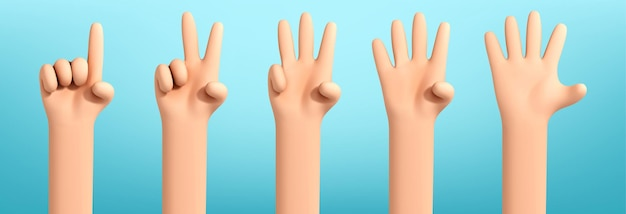 Satz von cartoon-händen, die von eins bis fünf zählen. hands-charakter-cartoon zählt bis 5. vektor-illustration geschäftsmann hände. kommunikationsgesten-konzept. handgestenzahlen.