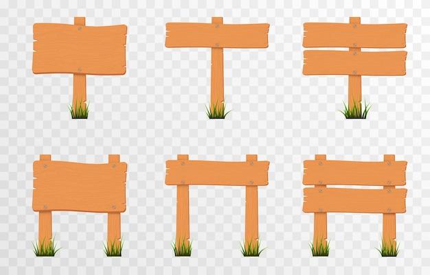 Satz von cartoon-holz-zeiger-schildern auf grünem gras holzzeiger-plaketten