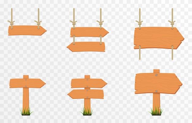 Satz von cartoon-holzzeigerplatten holzzeiger-plaketten