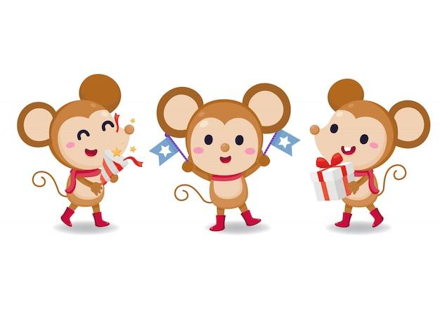 Satz von cartoon-ratten. charakter-design. nette ratte auf weißem hintergrund.