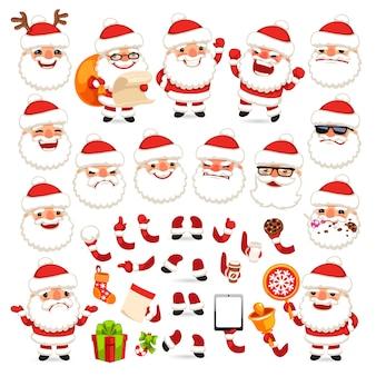Satz von cartoon santa claus für ihr weihnachtsdesign