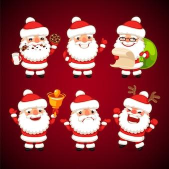 Satz von cartoon santa claus in verschiedenen posen