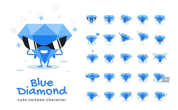 Satz von cartoon von blue diamond. illustration.