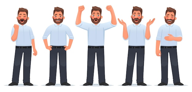Satz von charakter glücklicher mann geschäftsmann zeigt die emotionen des glücks freude sieg erfolg