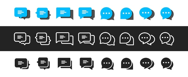 Satz von chat-nachrichtenblasen-vektor-symbol. kommunikationssymbole. sprechblase, dialog. web-icon-set. onlinekommunikation. konversation, sms, benachrichtigung, gruppenchat. chat-symbole in verschiedenen stilen