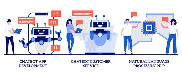 Satz von chatbot-app-entwicklung, kundenservice und verarbeitung natürlicher sprache