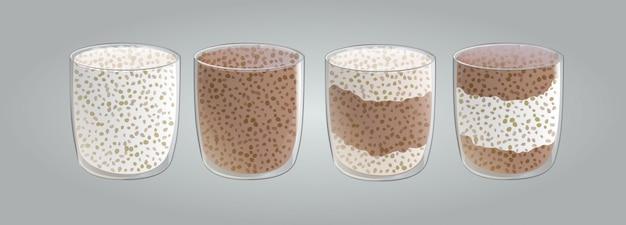 Satz von chiasamen vanille und schokoladenpudding mit schlagsahne.