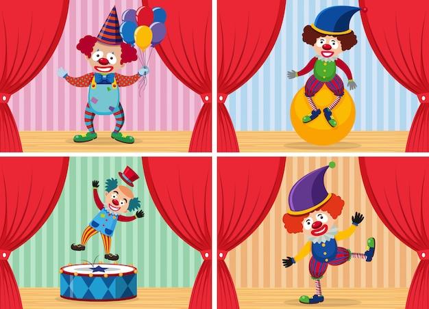 Satz von clown auf der bühne