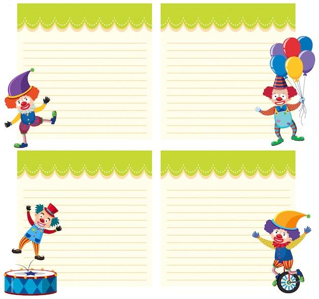 Satz von clown auf notizvorlage