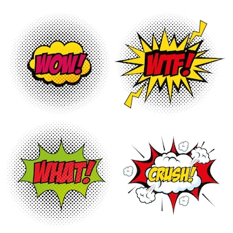 Satz von comic mögen pop artsigns über weißer hintergrundvektorillustration