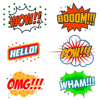 Satz von comic-phrasen. boom, wow, omg.