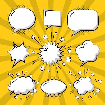 Satz von comic-pop-art-rede blasen wolken explosionen gelben hintergrund