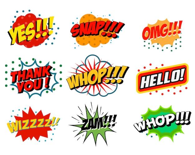 Satz von comic-stilphrasen auf weißem hintergrund. sätze im pop-art-stil. beeindruckend! hoppla! whop! element für plakat, flyer. gestaltungselement.