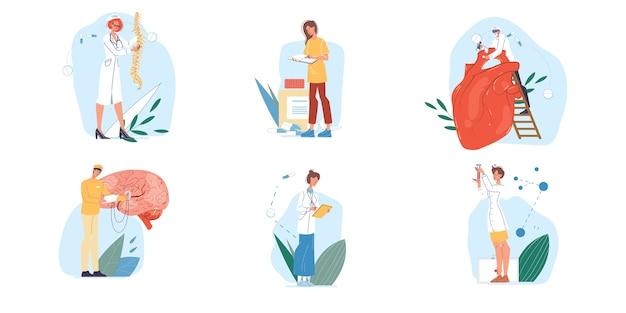 Satz von comicfiguren und krankenschwestern in uniform, laborkittel mit medizinprodukten und team für innere organe, verschiedene posen und personen