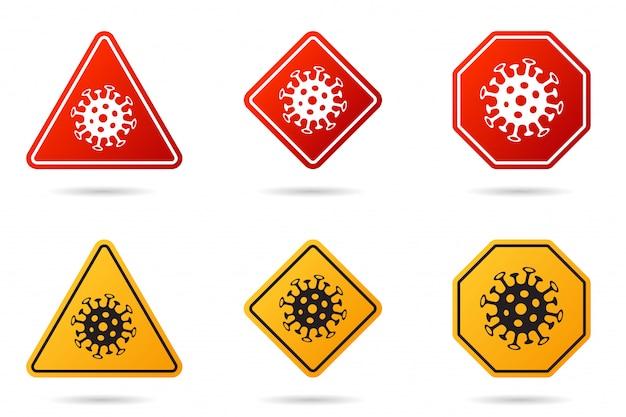 Satz von coronavirus-verkehrszeichen. corona-virus bacteria cell icon, 2019-ncov in vorsichtigen verkehrszeichen. warnsymbol von covid-19, mers-cov, symbolsatz der epidemie