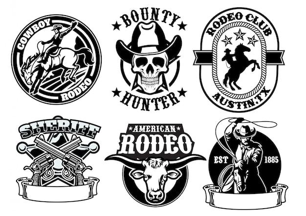 Satz von cowboy-abzeichen