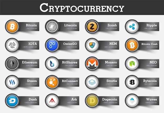 Satz von cryptocurrency ikone und aufkleber mit wert