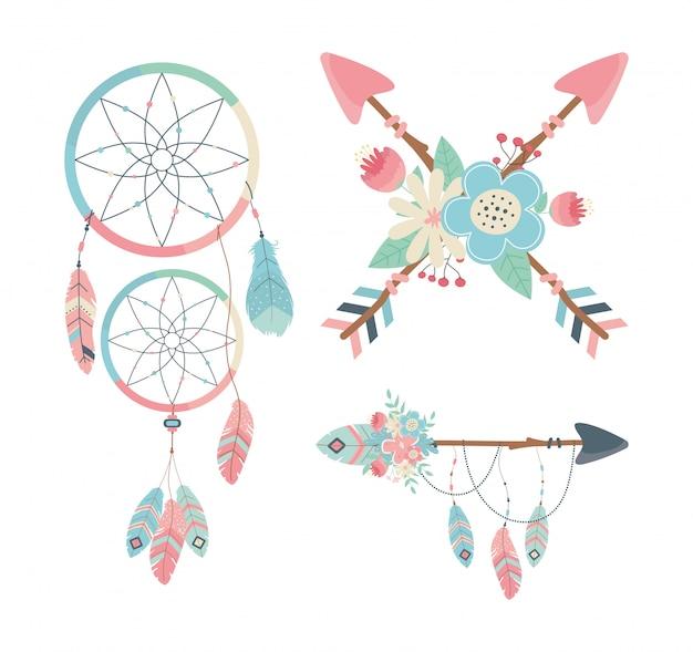 Satz von dekorationen boho-stil