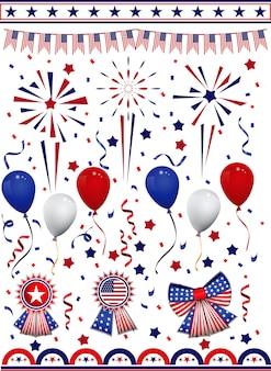 Satz von dekorationscliparts der amerikanischen flagge mit verschiedenen abzeichen