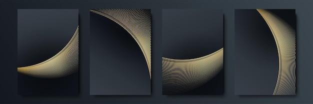 Satz von designvorlagen in schwarz und gold für cover, broschüren, flyer, mobile technologien, anwendungen und online-dienste, typografische embleme, logos, banner. abstrakte moderne hintergründe