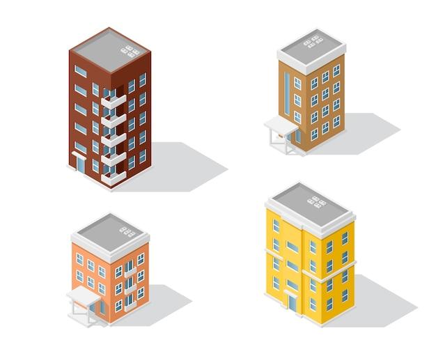 Satz von detaillierten isometrischen häusern lokalisiert auf weißem hintergrund. niedriges poly-stadtgebäude, isometrisches symbol oder infografikelement für die stadtplanerstellung