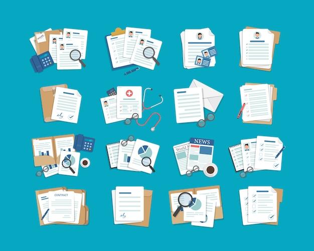 Satz von dokumentensymbolen, papier- und ordnersymbolen