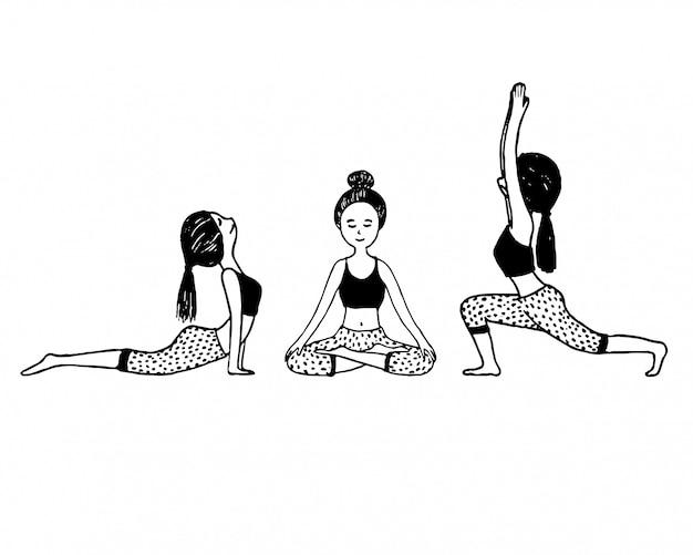 Satz von doodle hand gezeichneten yoga niedlichen charakter