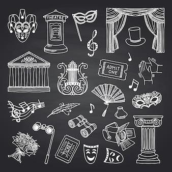Satz von doodle theaterelemente auf schwarze tafel
