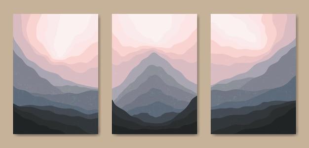 Satz von drei abstrakten ästhetischen modernen landschaftslandschaft mitte des jahrhunderts zeitgenössisches boho-plakat