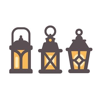 Satz von drei alten rustikalen laternen flache ikonen