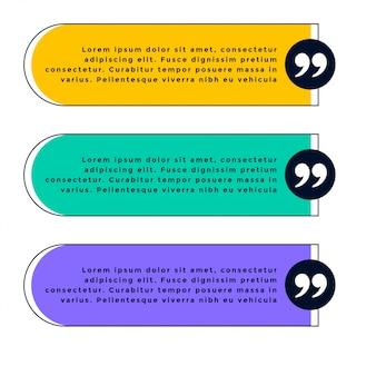 Satz von drei angebotsschablonen in verschiedenen farben