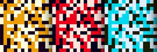 Satz von drei bunten mosaikhintergrund